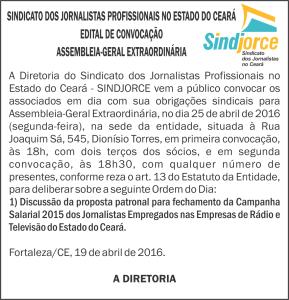 EDITAL - ASSEMBLEIA EXTRAORDINÁRIA - Fechamento campanha salarial 2015 rádio e tv