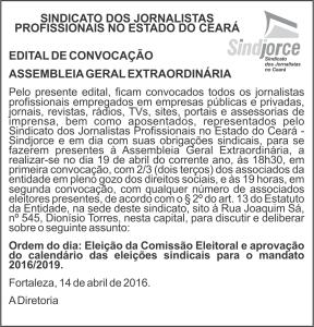 anuncio - ASSEMBLEIA GERAL EXTRAORDINÁRIA - Eleição da Comissão Eleitoral 2016