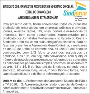 EDITAL - ASSEMBLEIA ORDINARIA - RELATORIO PARCIAL DIRETORIA 2016